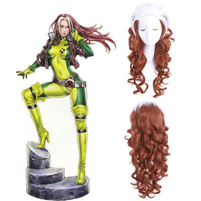 X-MEN Rogue Anna Marie Cosplay Wig Brown & White Curly Wavy Hair Wigs US SHIP - X Men Rogue Wig