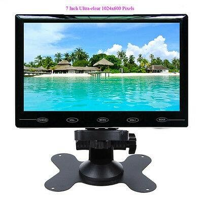 """7"""" Ultra Thin HD 1024x600 TFT LCD Color 2 Video Input Car Rear View Monitor"""