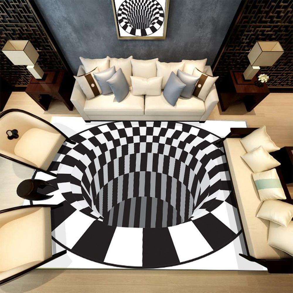 3D Bottomless Hole Shaggy Carpet Anti-Skid Rug Home Living R