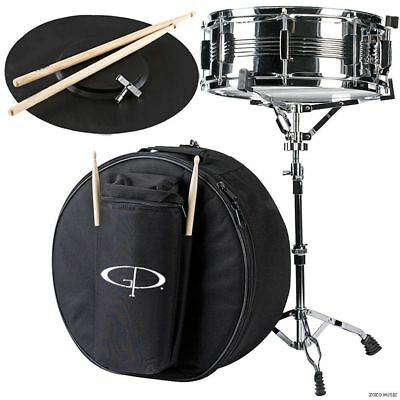 New GP Percussion SK22 Complete 5.5x14 Student Snare Drum Kit w/ Case and Stand