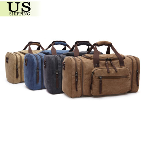 Canvas Travel Tote Luggage Large Men/'s Weekend Gym Shoulder Duffle Bag /& Strap