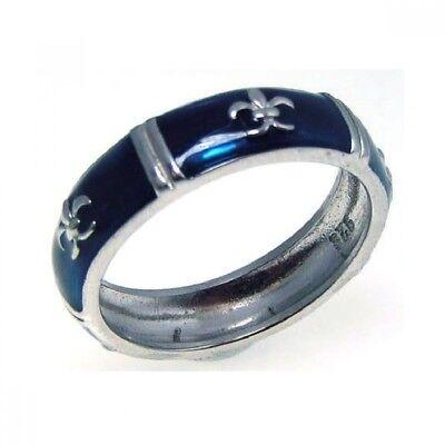 Sterling Silver Blue Enamel Fleur de Lis Ladies Band Ring Blue Enamel Fleur De Lis