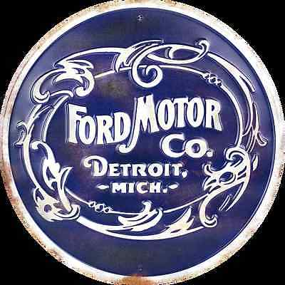 "FORD MOTOR CO DETROIT MICH 12"" ROUND METAL RETRO EMBOSSED SIGN CO. MICHIGAN"