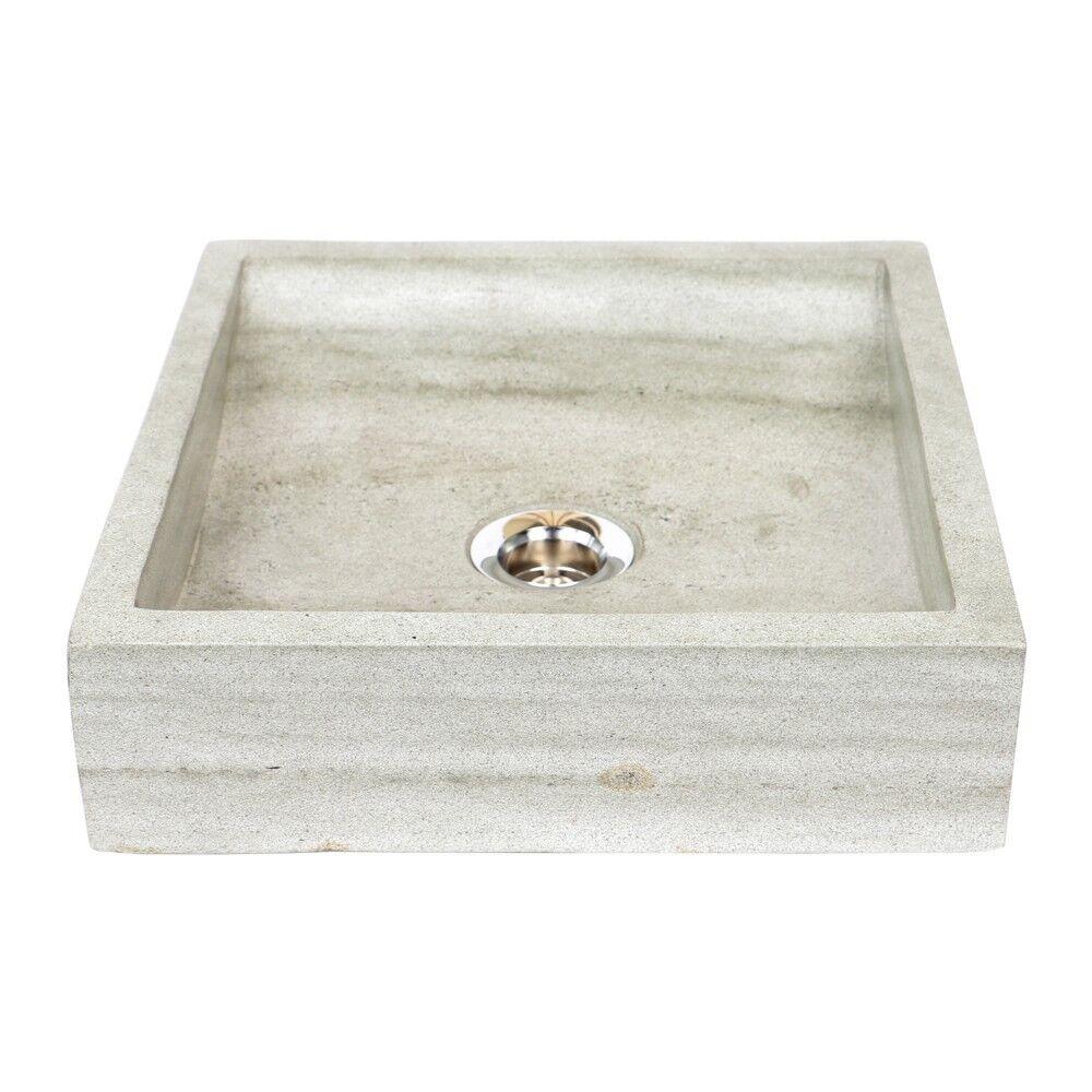 WOHNFREUDEN Steinwaschbecken PERAHU aus Sandstein 30 x 30 x 8 cm eckig grau
