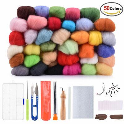 Needle Felting Kit Hand Craft Sewing DIY + 50 Colors Wool Soft Fibre Roving Set