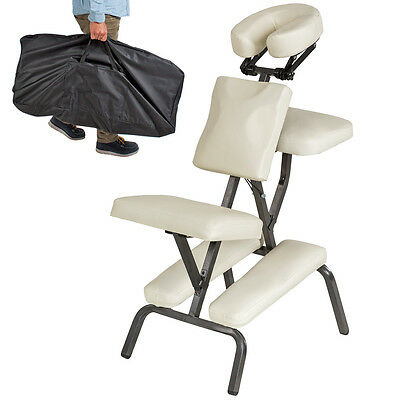 PORTABLE FOLDING MASSAGE TATTOO CHAIR THERAPY BEAUTY STOOL ADJUSTABLE BEIGE new