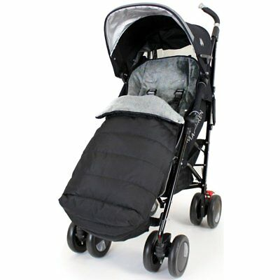 XXL Large Luxury Foot-muff And Liner For Mamas And Papas Armadillo - Black/Grey