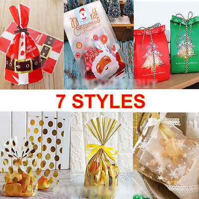 50pcs Christmas Festival Candy Gift Bags Xmas Cookie Biscuit Baking Package - Holiday Cookie Bags