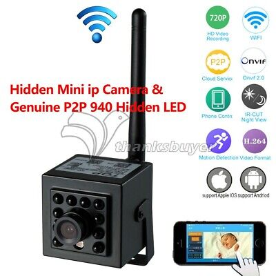 Mini IP Camera +940nm Invisible LED ONVIF2.0 for Network Record App CMS Software ()