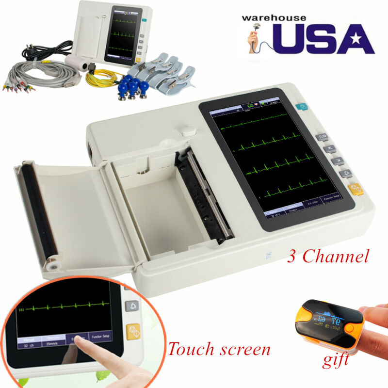 Touch Screen Digital 3Channel 12 Lead Electrocardiograph Device ECG/EKG Machine