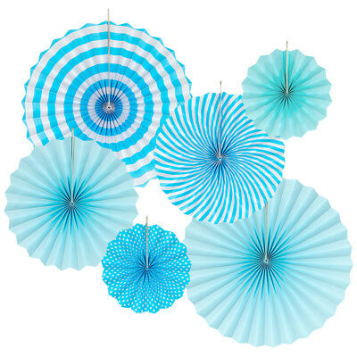 Floral Reef 6 Pc Hanging Paper Fans Rosettes Party Event Decoration Tiffany - Tiffany Blue Decor