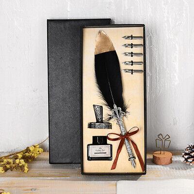 Vintage Feather Quill Dip Pen Writing Ink Set Perfect Excellent Souvenir US S2M4