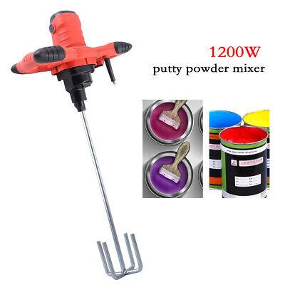 1200w Electric Mortar Mixer Plaster Concrete Paint Stirring Tool Single Paddle