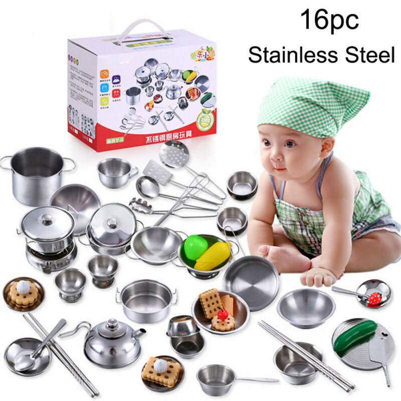 16pcs Stainless Steel Pots and Pans Cookware Pretend Kitchen