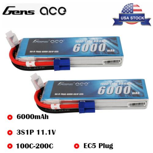 Gens ace 6000mAh 11.1V 100C 3S LiPo Battery EC5 Plug For RC