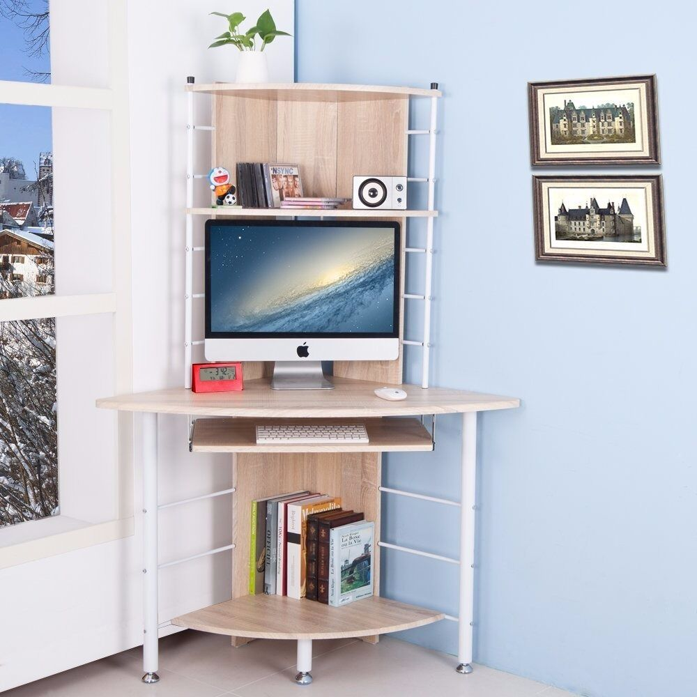 home office furniture pc table compact corner computer desk with 3 shelves oak