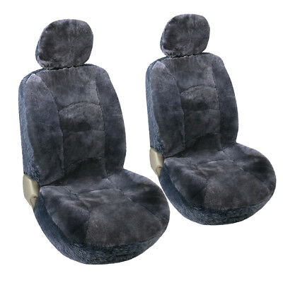 Car Seat Covers 2 Low Back Sheepskin Front Seat Protector Charcoal/Gray