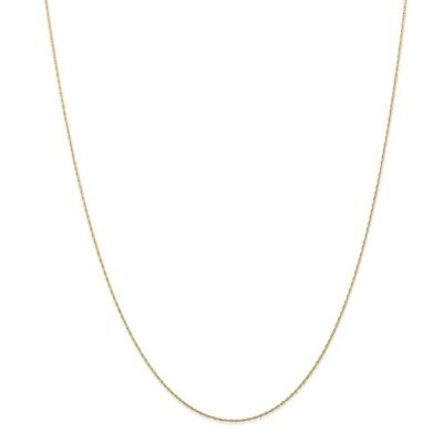 14k Yellow Gold .5 mm Cable Link Rope Chain Necklace (CARDED) 20 Inch