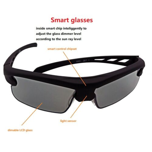 SmoPods Solar Power LCD Smart Glasses Automatical Adjust Transmittance UVA UVB