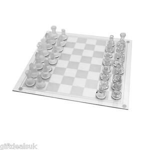Glass Board Traditional Chess Set Game Unique Beautiful Gift 32 Pieces Fun Party Ebay