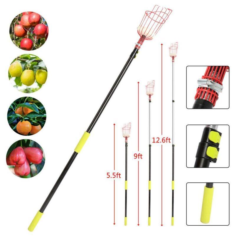 Fruit Picker with Extension Pole Twist-On Fruit Picker Tool w/ Basket for Apple