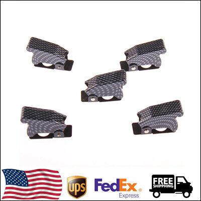 5pcs Carbon Fiber Waterproof Sha7 Boot Safety Flip Cover Cap For Toggle Switch