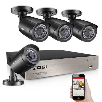 ZOSI 8CH 1080p 4in1 DVR 2MP 2000TVL Outdoor IR CCTV Home Security Cameras System