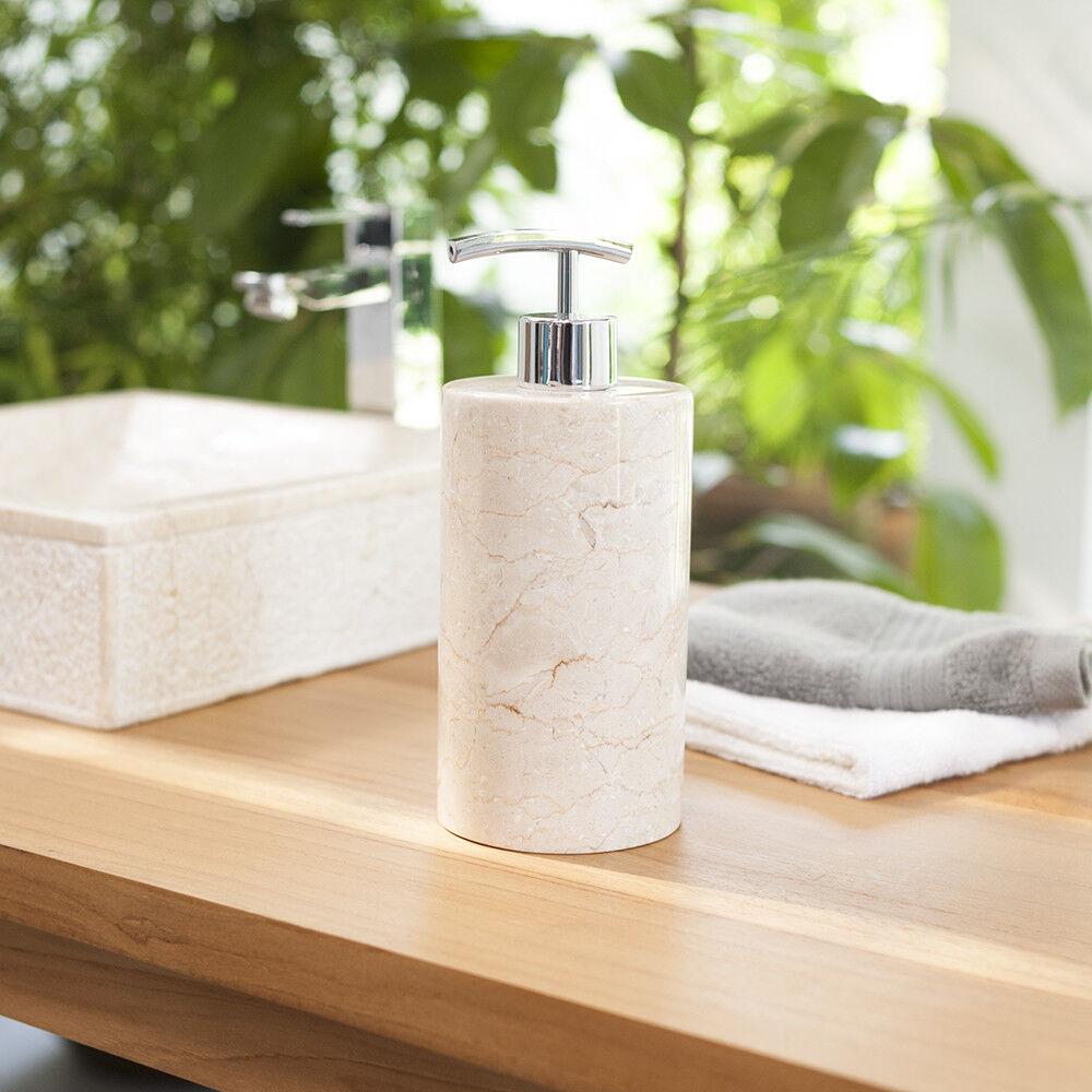 Naturstein Pump-Seifenspender 15 cm Marmor Pumpspender creme Seife wohnfreuden