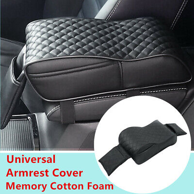 Universal Car SUV Armrest Cover Consoles Box Pillow Memory Foam Cushion PU Black ()