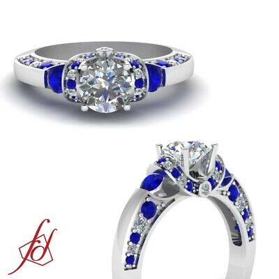 Blue Sapphire And Diamond Engagement Rings For Women With Round Cut 1.25 Ct GIA