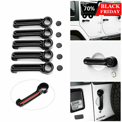 Door Handle Inserts Cover Kit Tailgate Handle Cover for Jeep Wrangler JK 4 -
