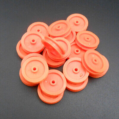 20pcs Plastic Pulley Gear Motor Wheels Dia 16.5mm Shaft Dia.2mm 1.95mm Orange Hq