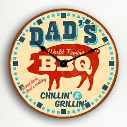 Dad's BBQ Retro Vintage Diner Sign Style 12 Silent Wall Clock