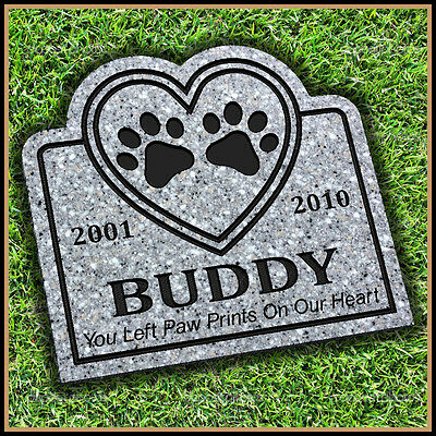 "Pet Memorial Grave Marker 11"" x 12"" Personalized Headstone Dog Cat Gravestone"