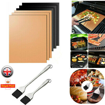 BBQ Grill Mesh Non-Stick Mat Reusable Sheet Resistant Cook Baking Barbecue Brush