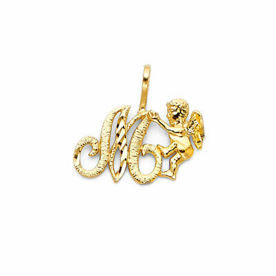 14K Real Yellow Gold Initial Letter with Baby Angel Small Charm Pendant A to Z