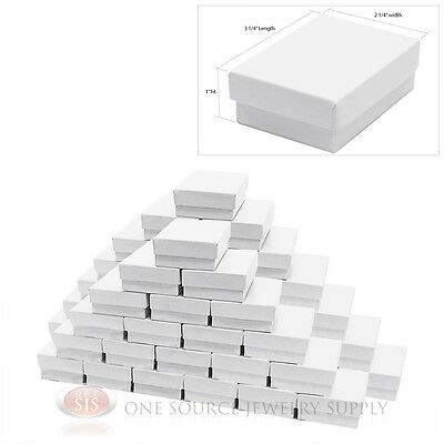 50 White Gloss Cotton Filled Jewelry Gift Boxes 3 14 X 2 14