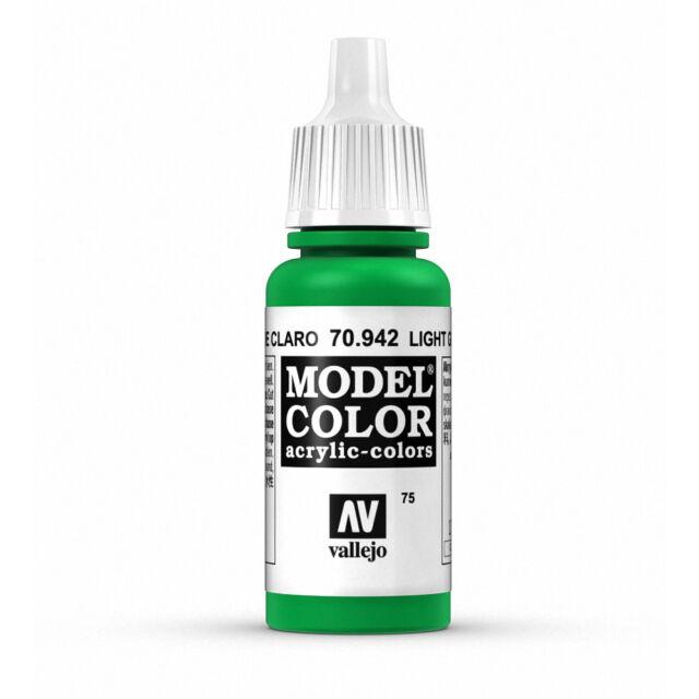 Vallejo Model Color: Light Green - VAL70942 Acrylic Paint 17ml Bottle 075