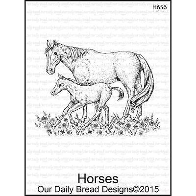 Our Daily Bread Designs Horses Cling Stamp H656 Mare And Colt