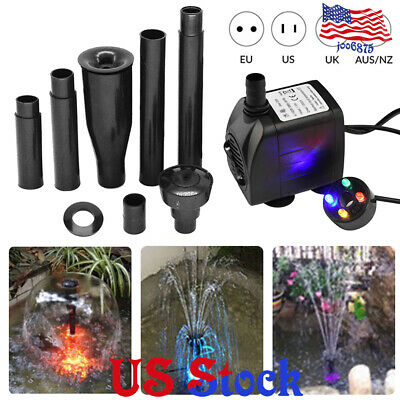 - Garden Fountain Aquariums Oxygen Pump Water Pool Fish Pond Color LED Submersible