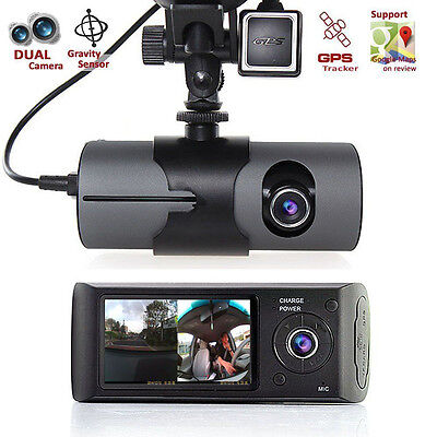 "2.7"" Dual Lens LCD Vehicle Car DVR Camera Video Recorder Dash Cam G-Sensor GPS"