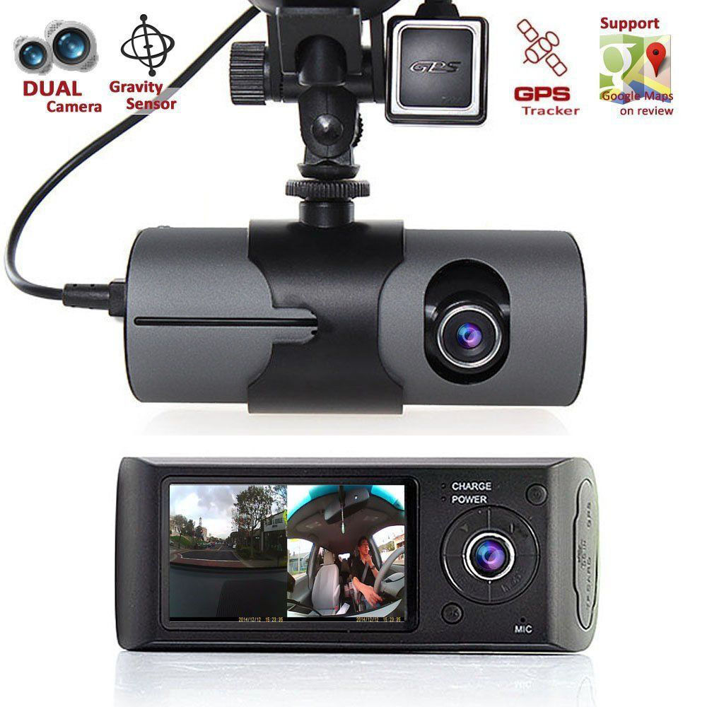 Dual Lens GPS Camera Rear Car DVR Dash Cam Video Recorder G-Sensor w/ GPS Trader