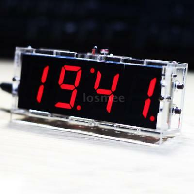 4-digit DIY Red LED Electronic Clock Kit Light Control w/ Transparent Case -