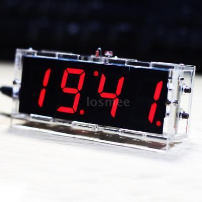 4-digit DIY Red LED Electronic Clock Kit Light Control w/ Transparent Case U5D9