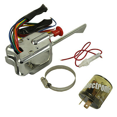 Chrome 12V Universal Rat Hot Rod Turn Signal Switch For FORD GM With Flasher Chrome Turn Signal Switch