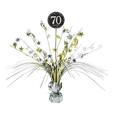 70th Birthday Spray Centrepiece Table Decoration Black Silver Gold Age 70 Party](70th Birthday Table Decorations)