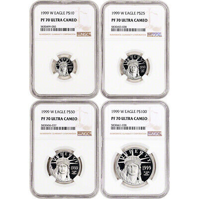 1999 W American Platinum Eagle Proof Four Coin Set NGC PF70 UCAM