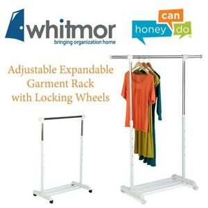 NEW Honey-Can-Do GAR-03265 Adjustable Expandable Garment Rack with Locking Wheels, White/Chrome Condtion: New
