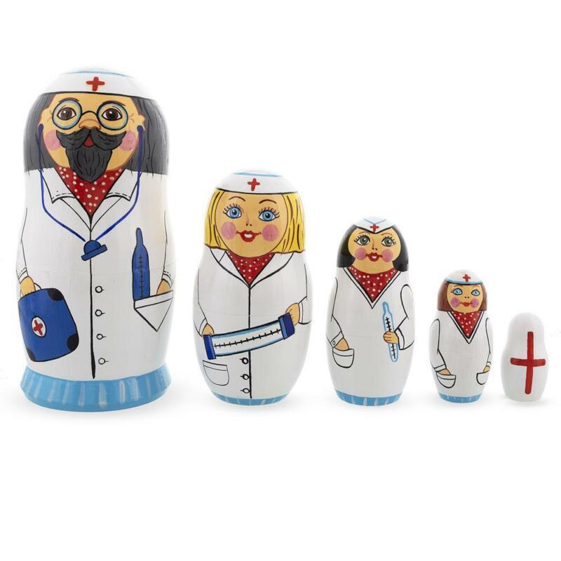 Doctor & Nurses Wooden Nesting Dolls