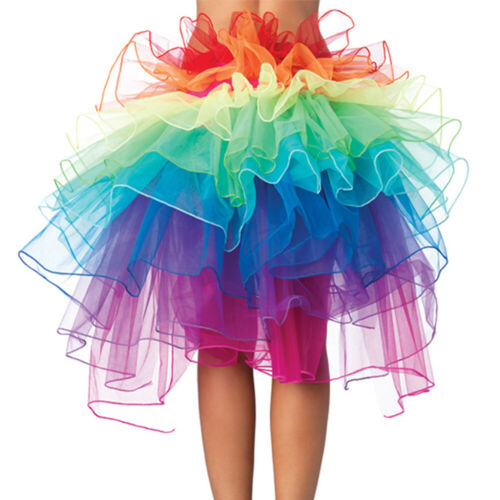 Mädchen Damen Pfau Rock Tutu Layered Tütü Regenbogen Tanzrock Karneval Party